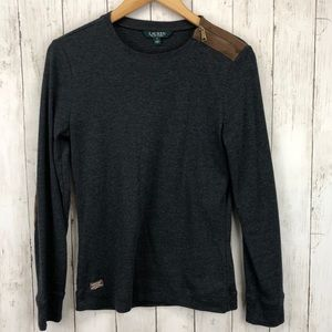 Ralph Lauren Long Sleeve Suede Elbow Patches Med